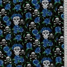 Skull and Cross Bones with Blue Roses Print on Black Polycotton Fabric x 0.5m